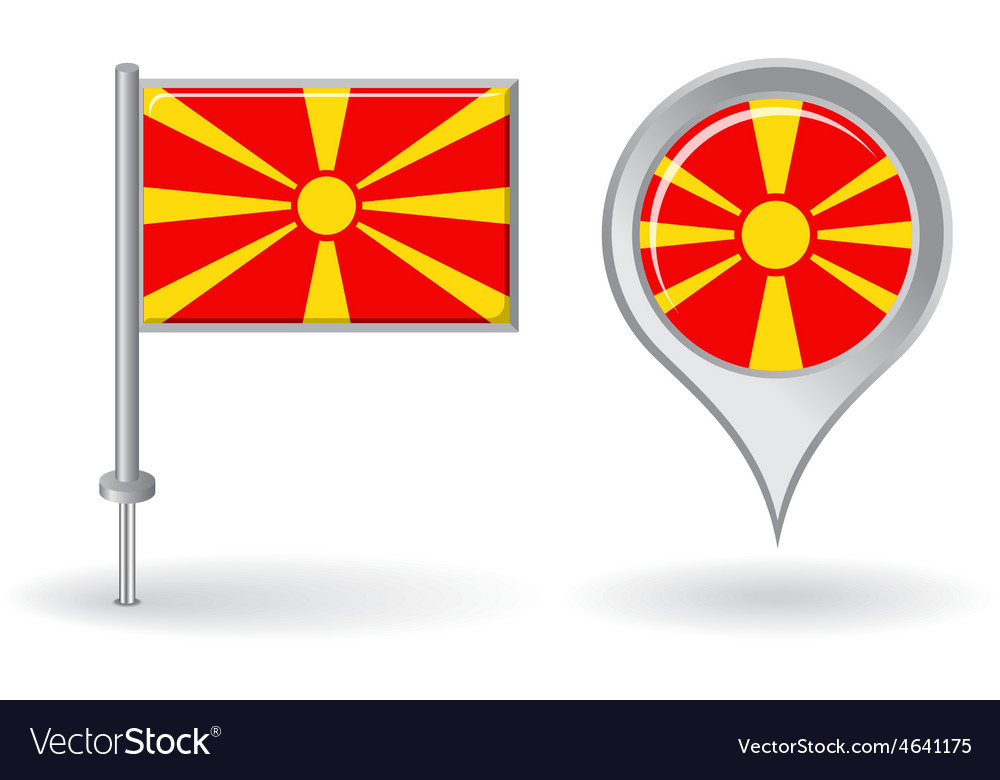 Macedonian pin icon and map pointer flag vector | Price: 1 Credit (USD $1)