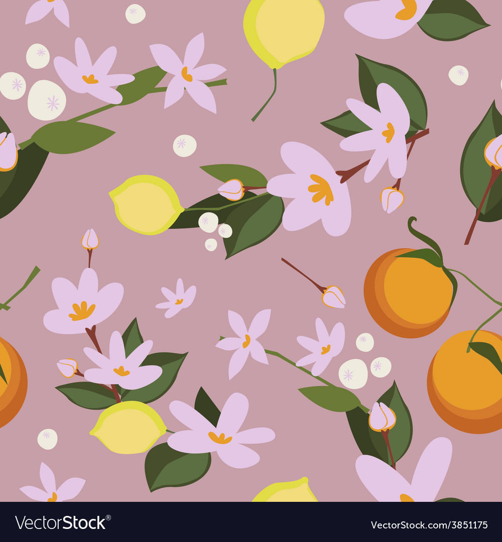 Oranges and lemon floral seamless pattern vector
