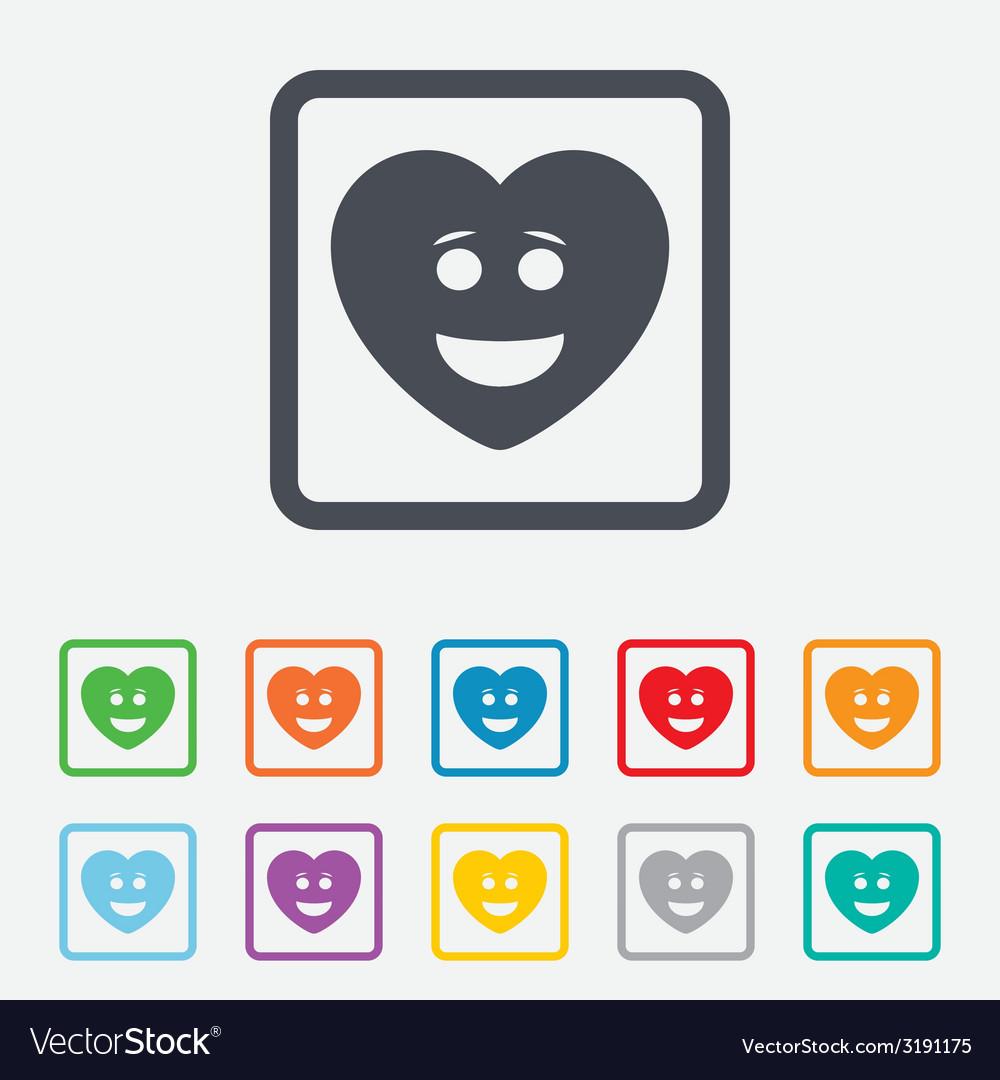 Smile heart face icon smiley symbol vector   Price: 1 Credit (USD $1)