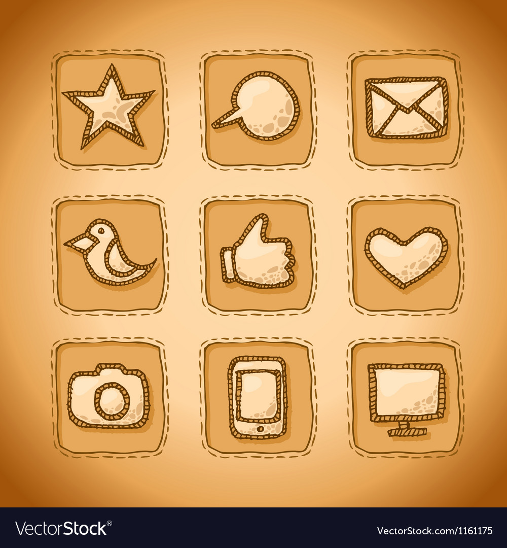 Social handmade icons vector | Price: 1 Credit (USD $1)