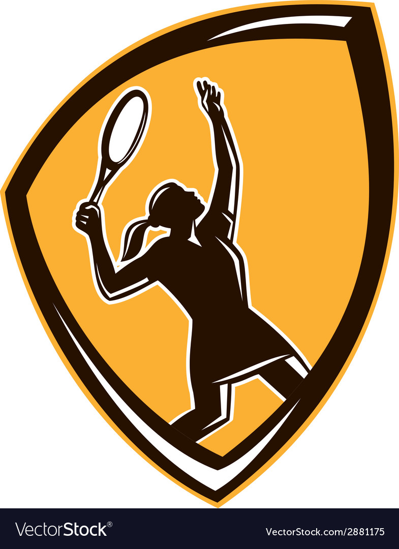 Tennis player female racquet shield retro vector | Price: 1 Credit (USD $1)