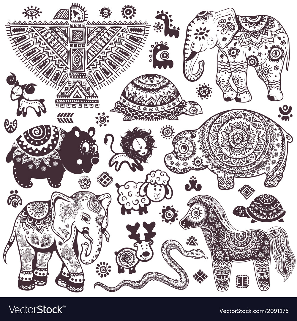 Vintage set of isolated ethnic animals and symbols vector | Price: 1 Credit (USD $1)