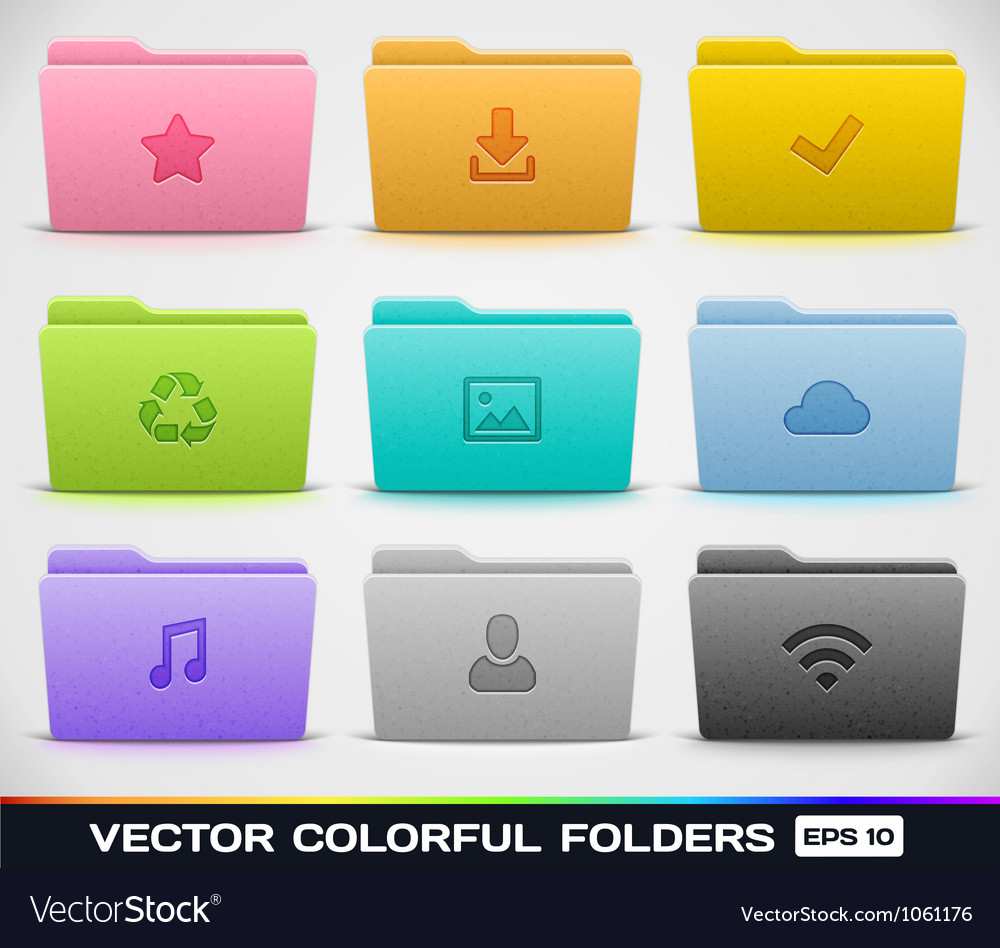 Colorful folder types vector | Price: 1 Credit (USD $1)