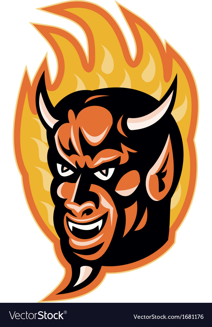 Demon devil horns fire retro vector | Price: 1 Credit (USD $1)