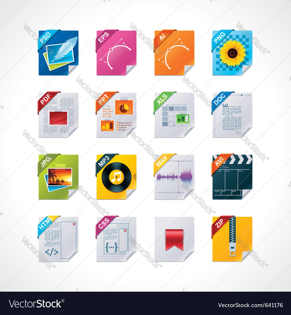 File labels icon set vector | Price: 3 Credit (USD $3)