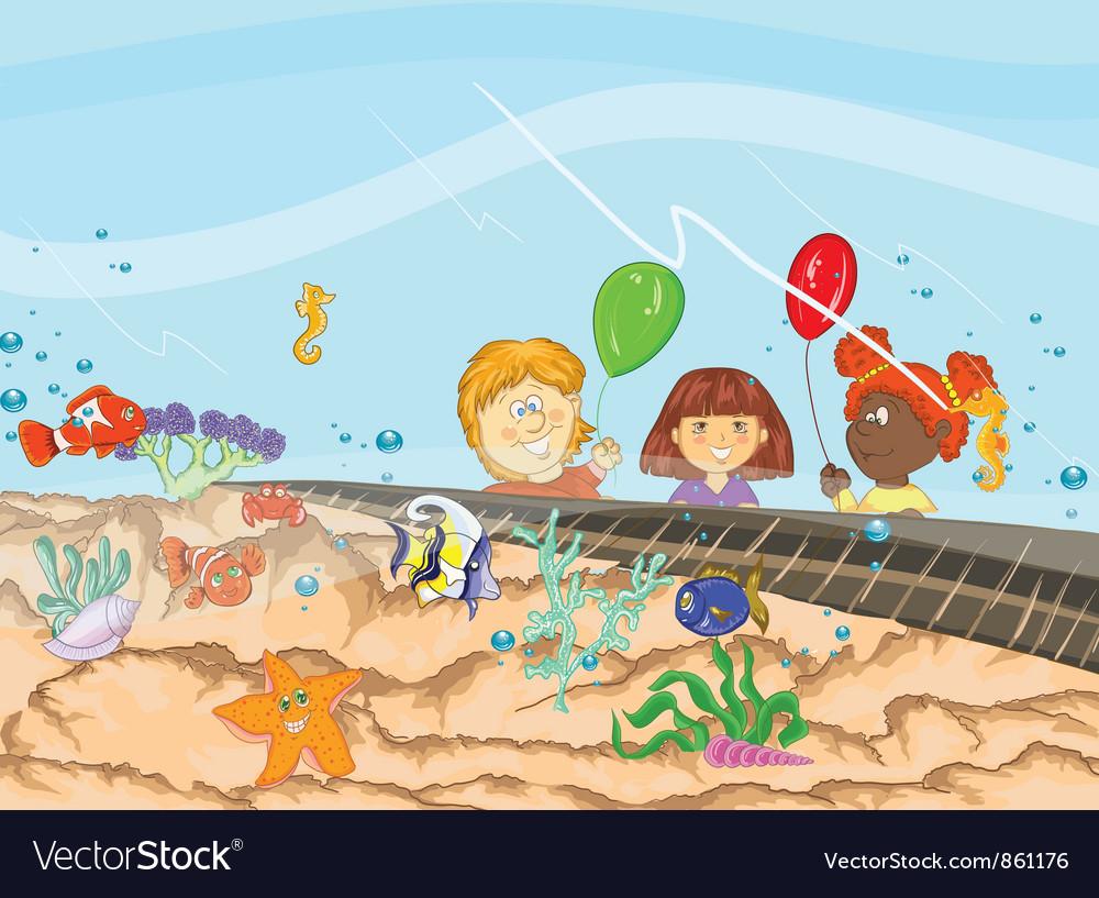 Kids at the aquarium vector | Price: 3 Credit (USD $3)