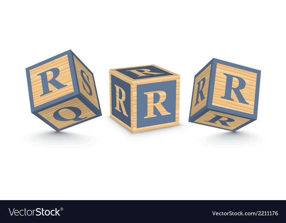 Letter r wooden alphabet blocks vector | Price: 1 Credit (USD $1)