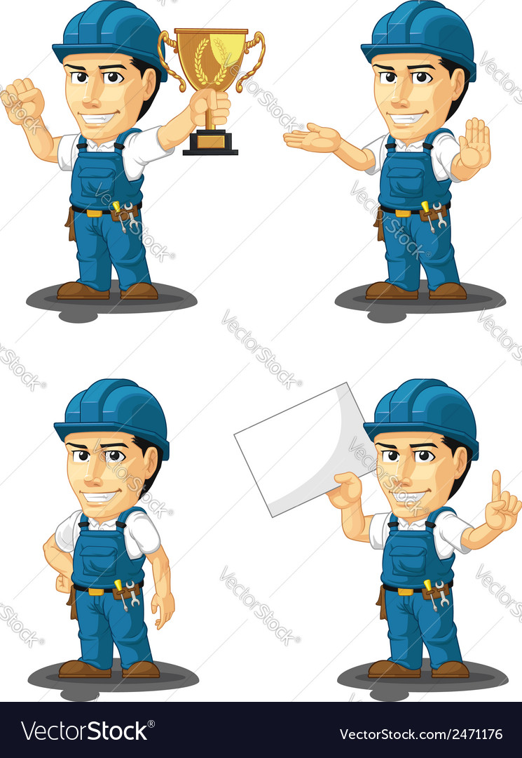 Technician or repairman mascot 5 vector | Price: 1 Credit (USD $1)