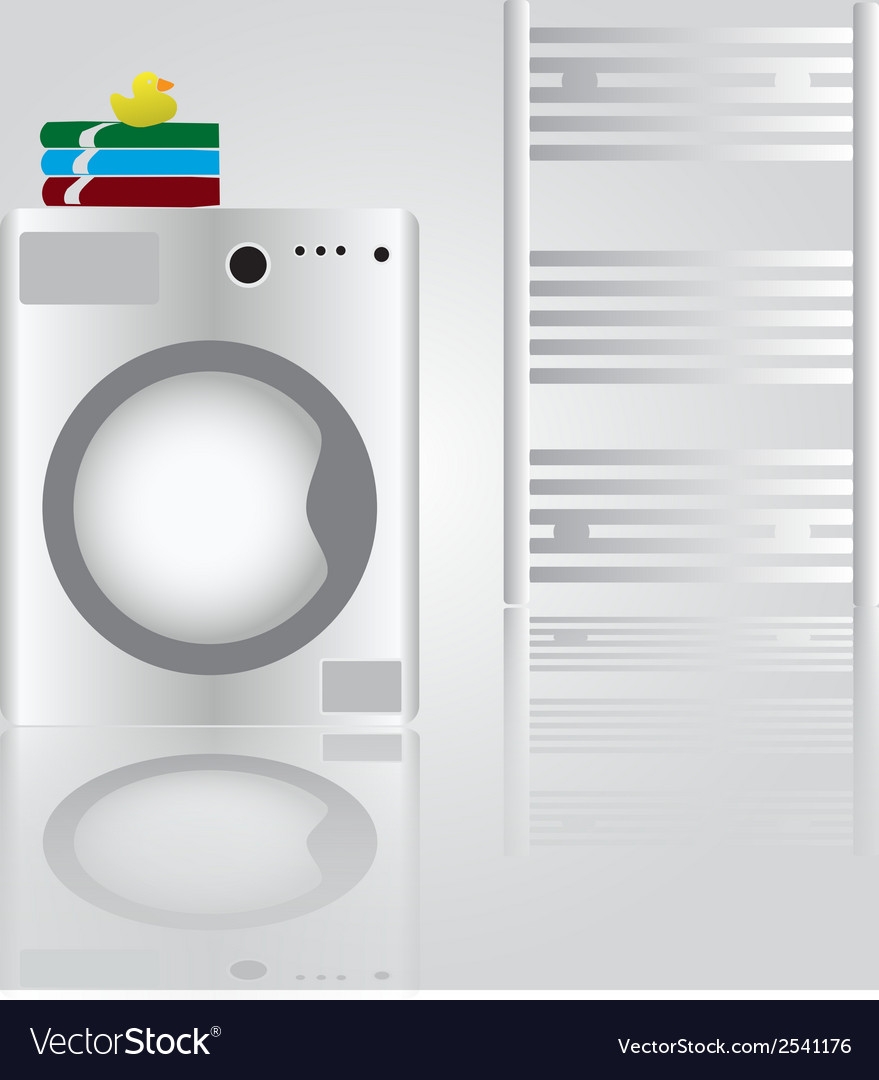 Washing machine in bathroom eps10 vector | Price: 1 Credit (USD $1)