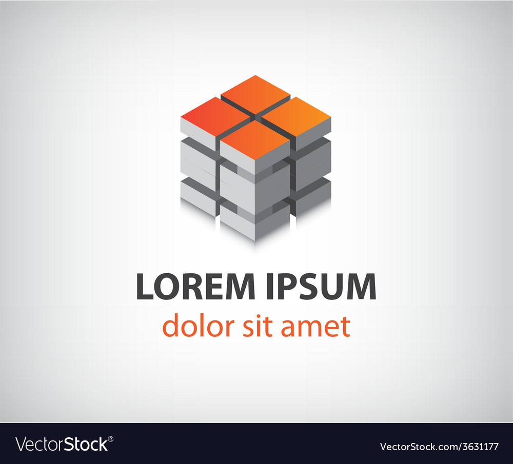 Abstract 3d cube construction logo vector | Price: 1 Credit (USD $1)