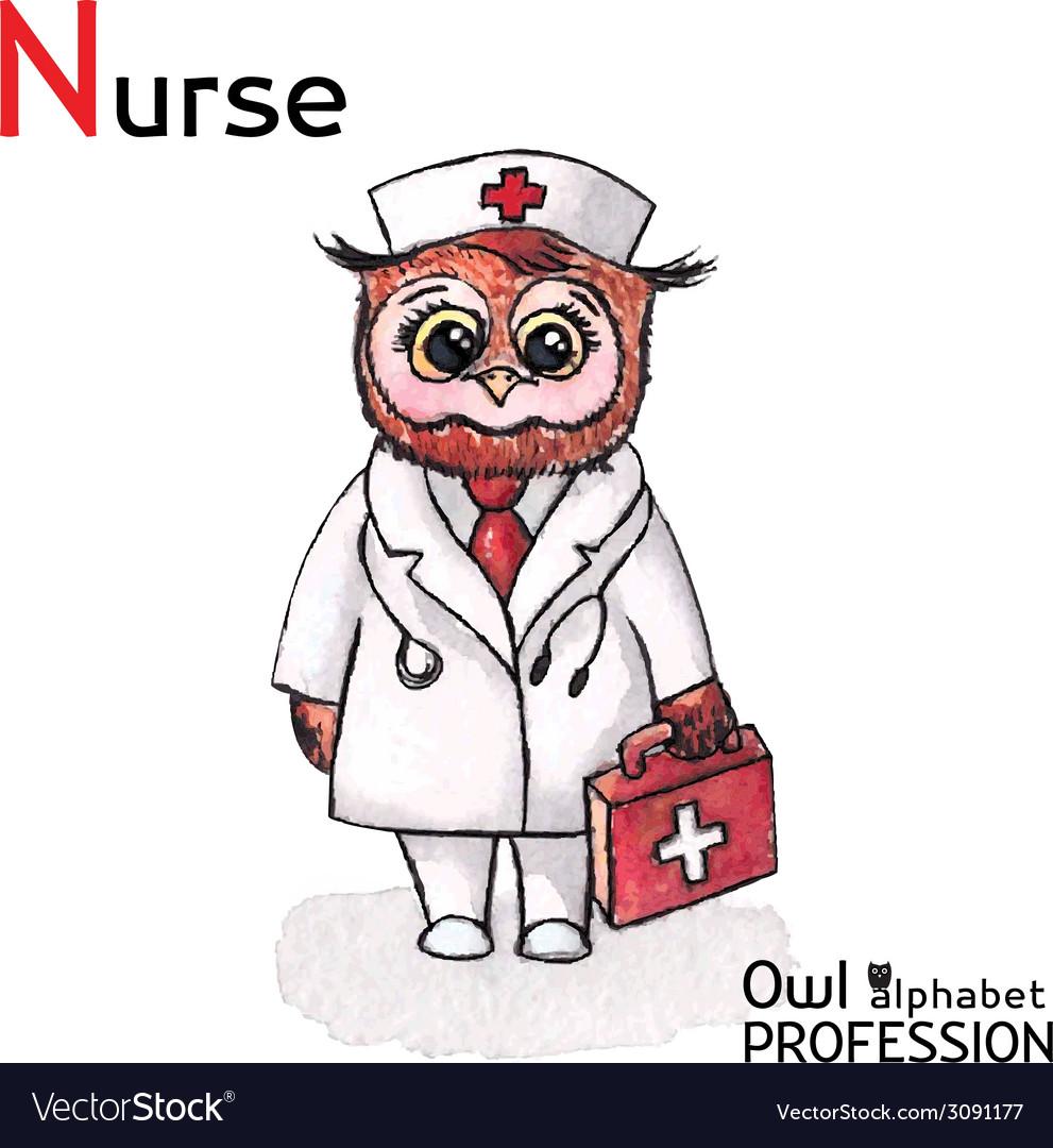 Alphabet professions owl letter n - nurse vector | Price: 1 Credit (USD $1)
