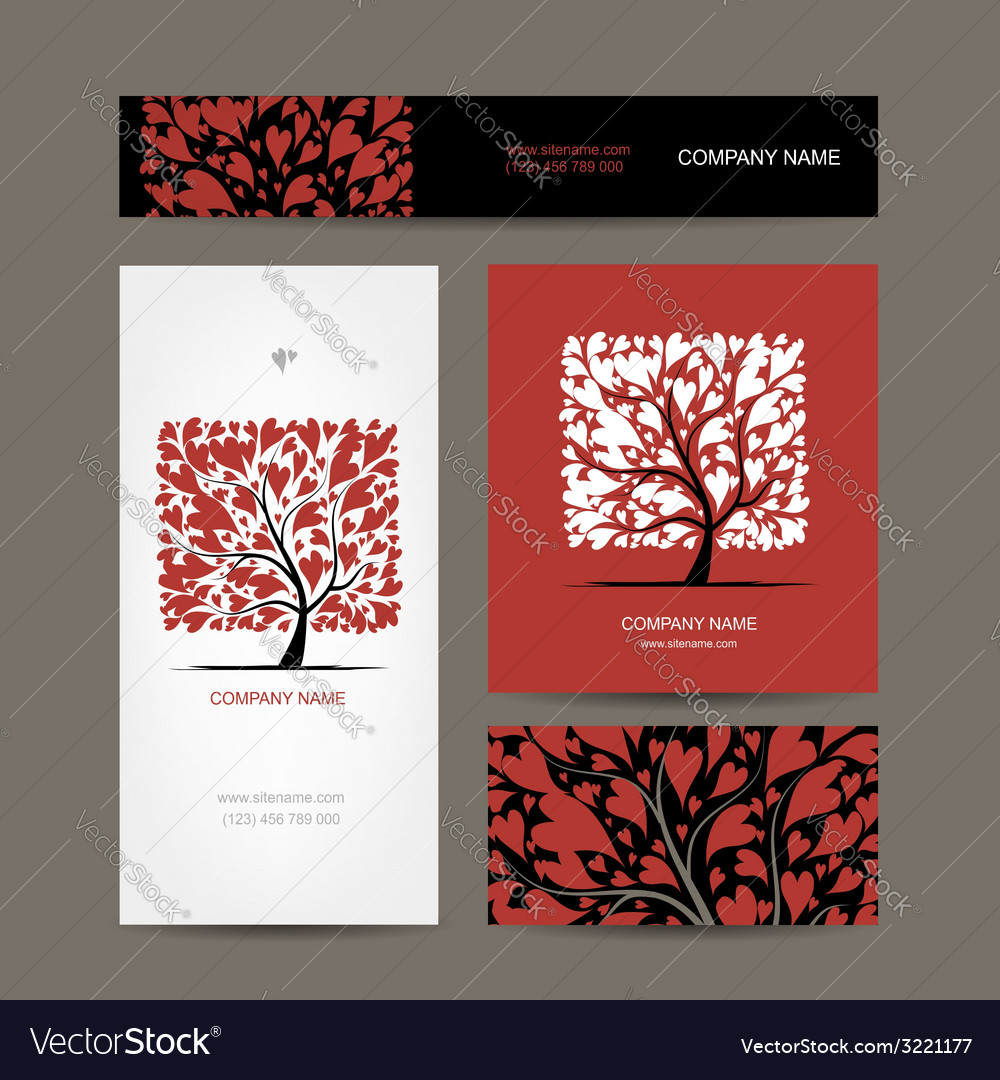 Business cards design with love tree vector | Price: 1 Credit (USD $1)
