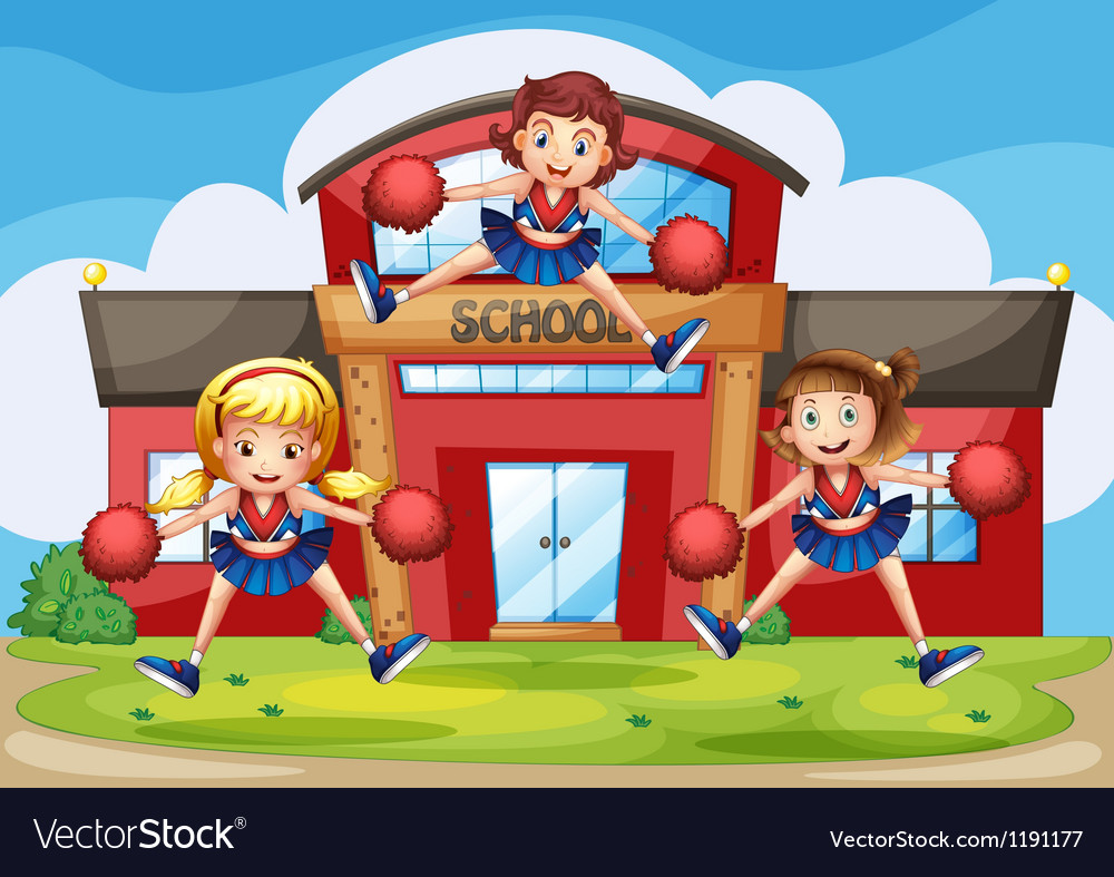 Cheerleaders performing in front of the school vector | Price: 1 Credit (USD $1)