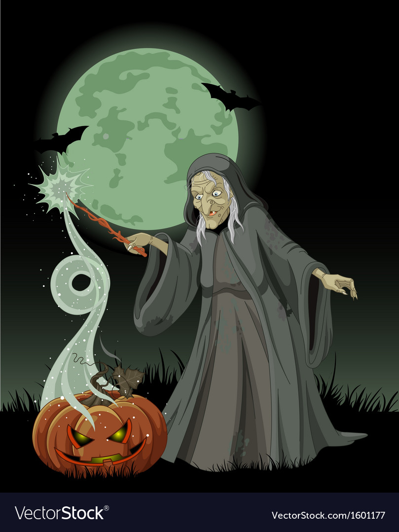 Halloween witch casts a spell vector | Price: 1 Credit (USD $1)