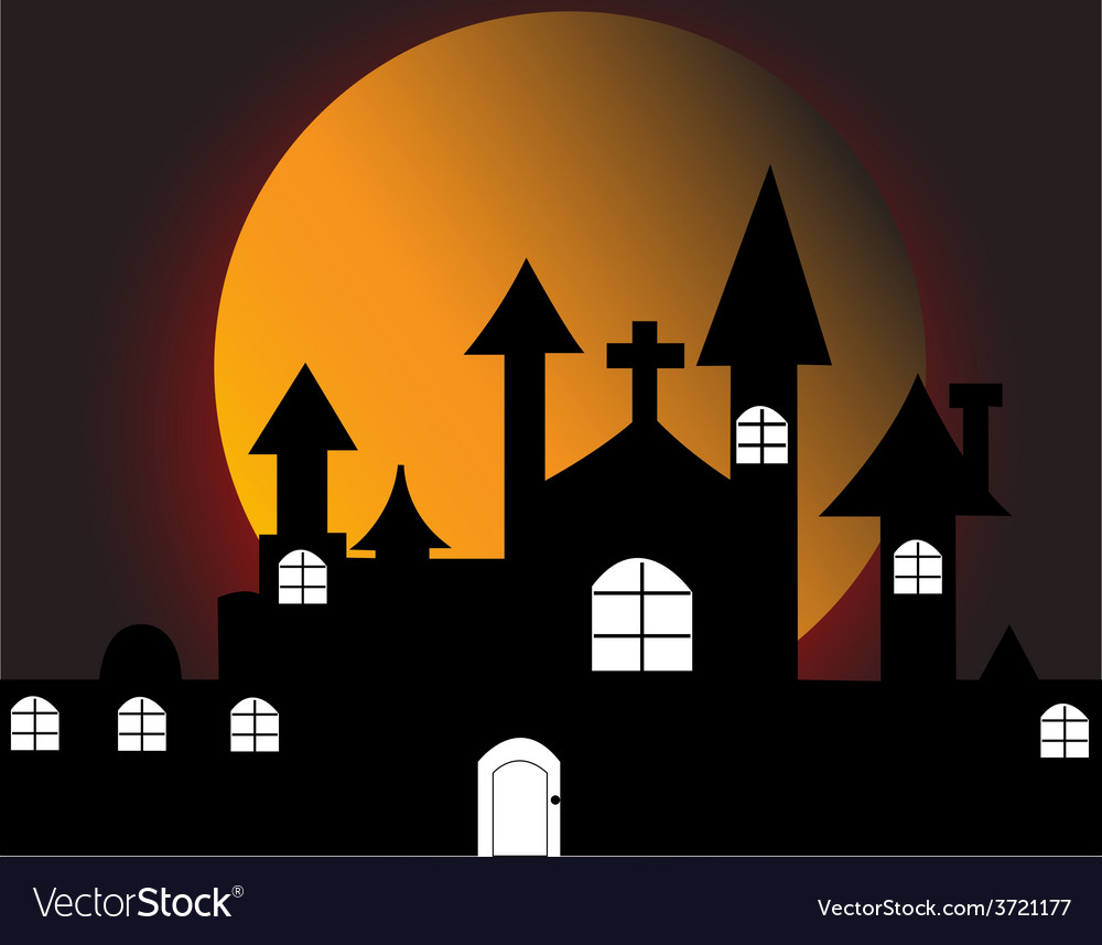 Halloween with haunted house vector | Price: 1 Credit (USD $1)