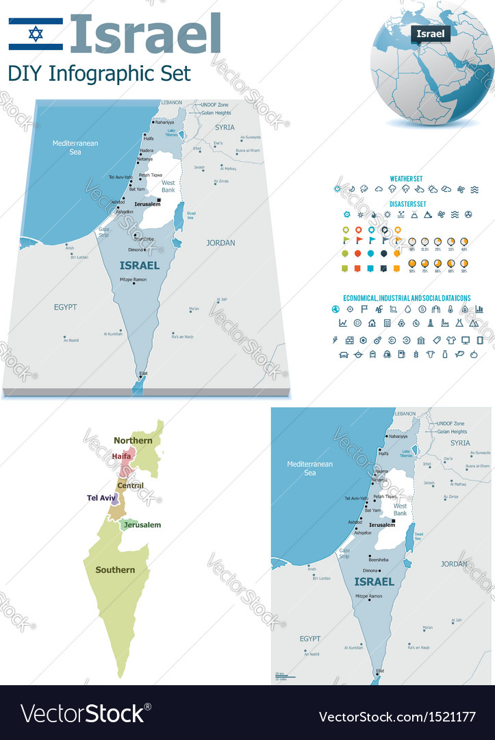 Israel maps with markers vector | Price: 3 Credit (USD $3)