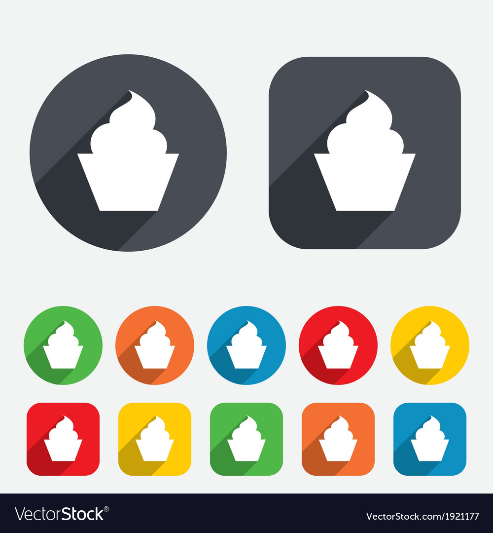 Muffin sign icon sweet cake symbol vector | Price: 1 Credit (USD $1)