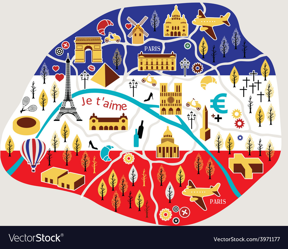 Paris map vector | Price: 1 Credit (USD $1)