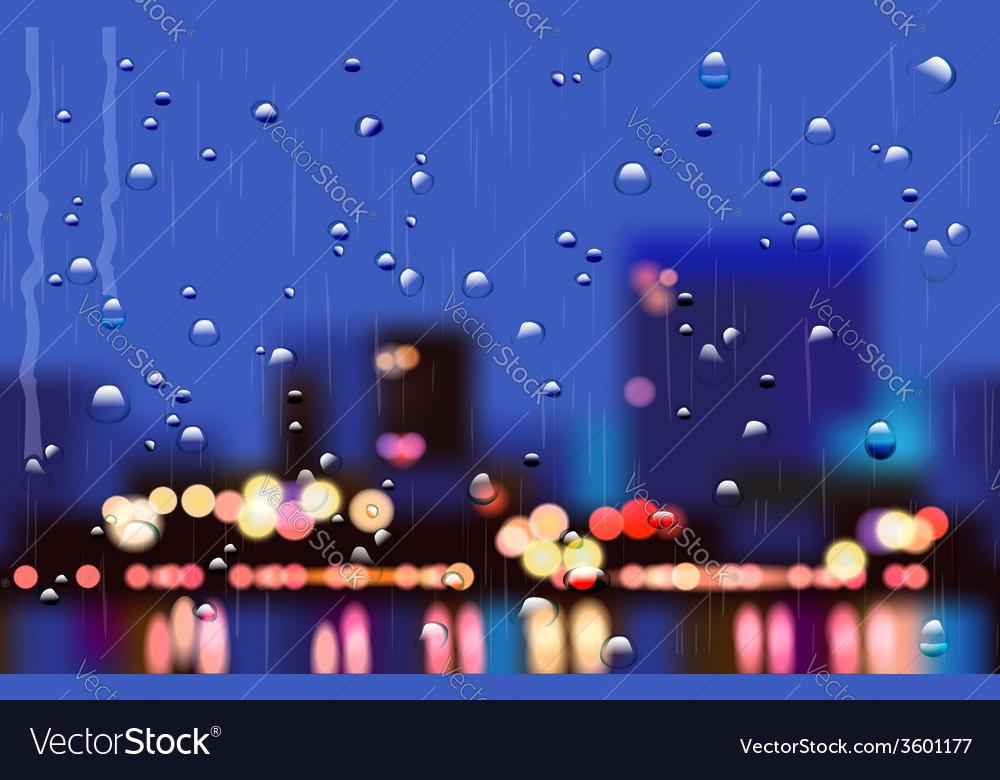 Rainy city streets vector | Price: 1 Credit (USD $1)