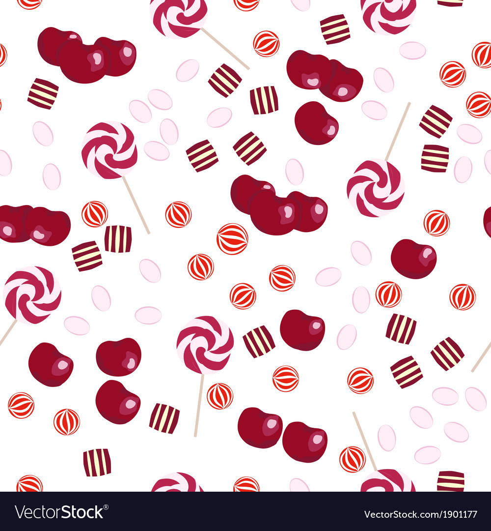 Seamless pattern of cherries and candy lollipops vector   Price: 1 Credit (USD $1)