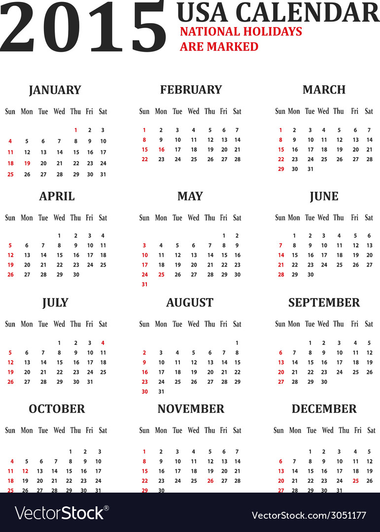 Simple usa calendar for 2015 american holidays are vector | Price: 1 Credit (USD $1)