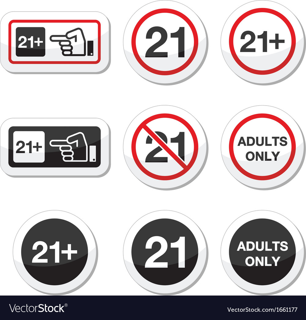 Under 21 adults only warning sign vector | Price: 1 Credit (USD $1)