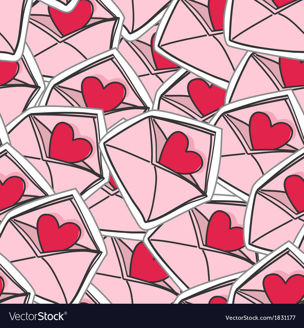 Valentines hearts on envelopes seamless background vector | Price: 1 Credit (USD $1)