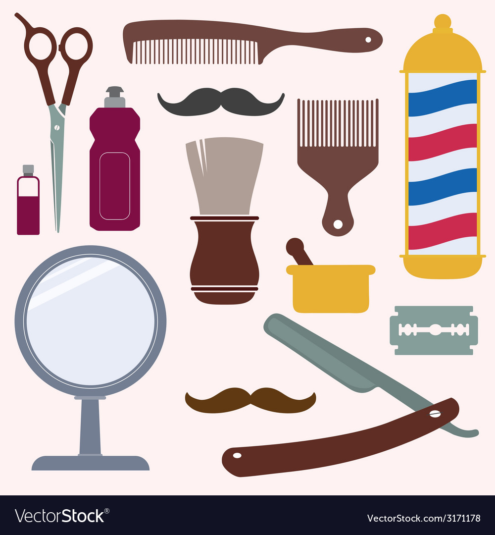 Barber and hairdresser related icons set vector | Price: 1 Credit (USD $1)