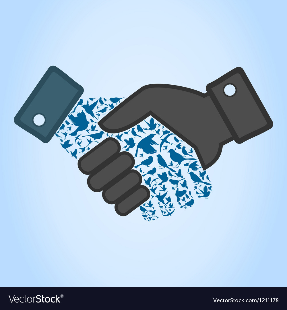 Bird hand shake vector | Price: 1 Credit (USD $1)