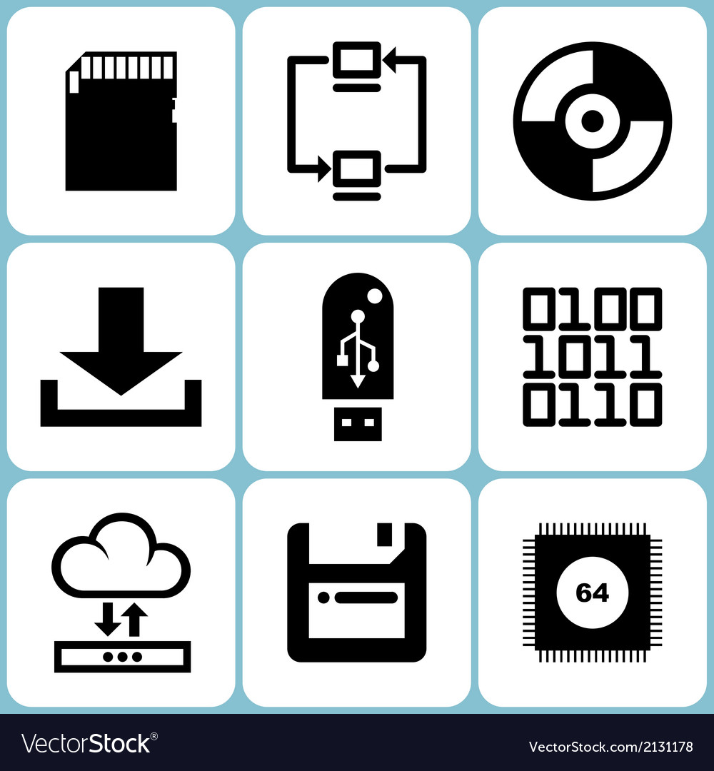 Data icons set vector | Price: 1 Credit (USD $1)
