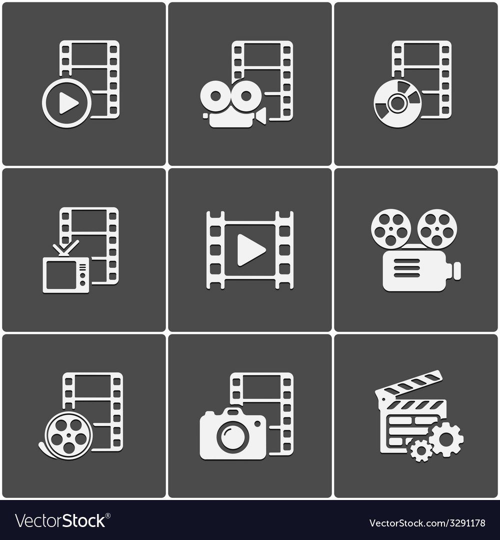Film icon pack on black background vector | Price: 1 Credit (USD $1)
