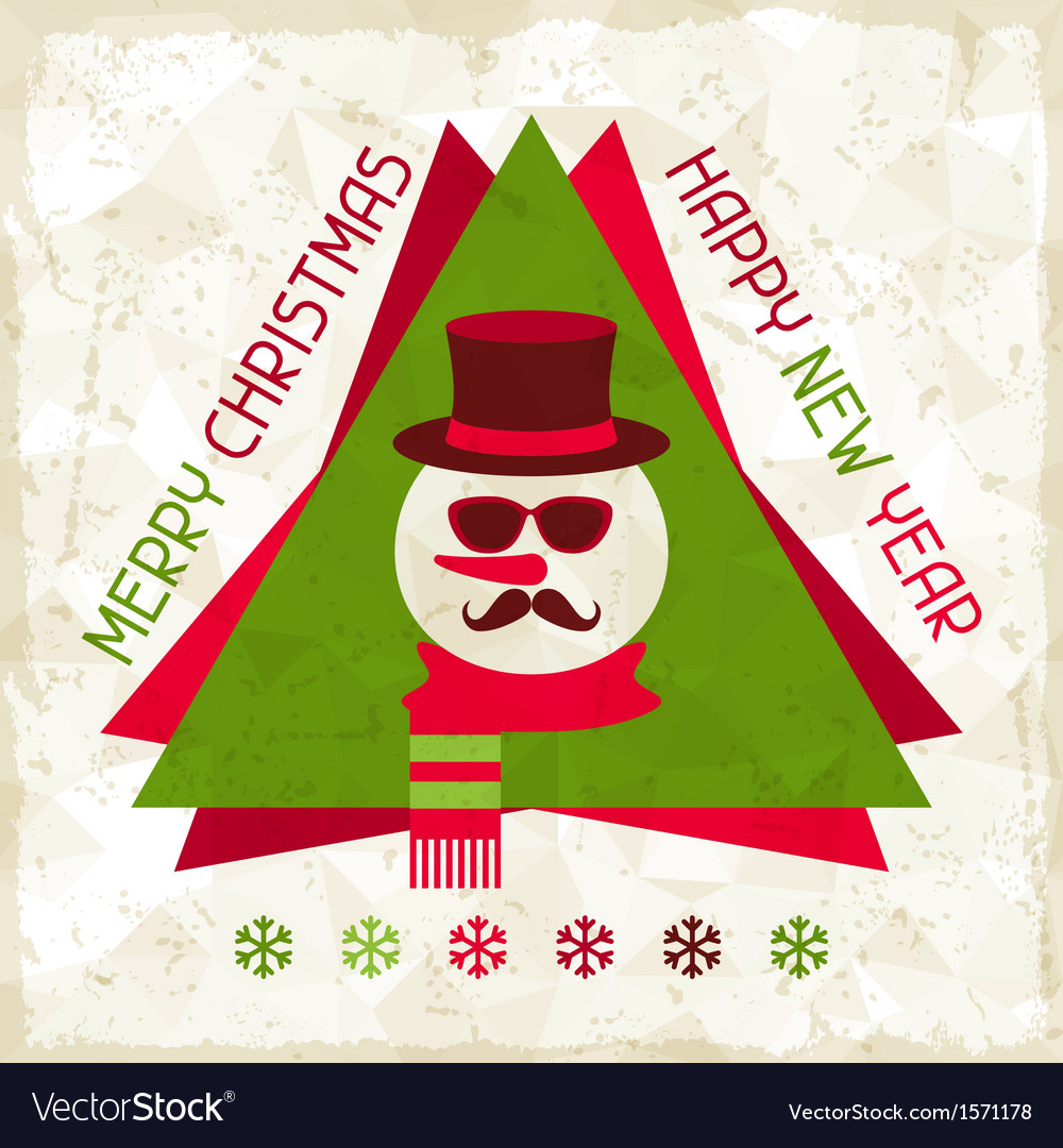 Merry christmas background with snowman in hipster vector | Price: 1 Credit (USD $1)