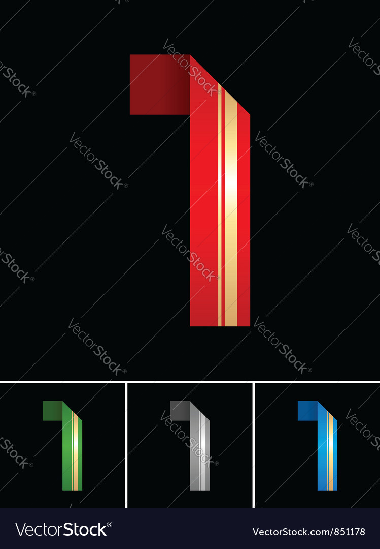 Numeral of paper tape - 1 vector | Price: 1 Credit (USD $1)