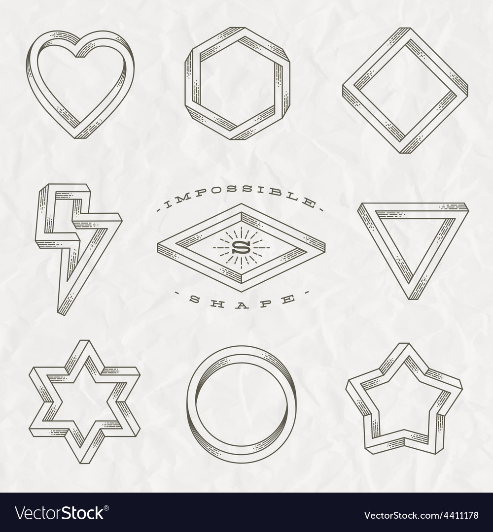 Set of line art tattoo style impossible shapes vector | Price: 1 Credit (USD $1)