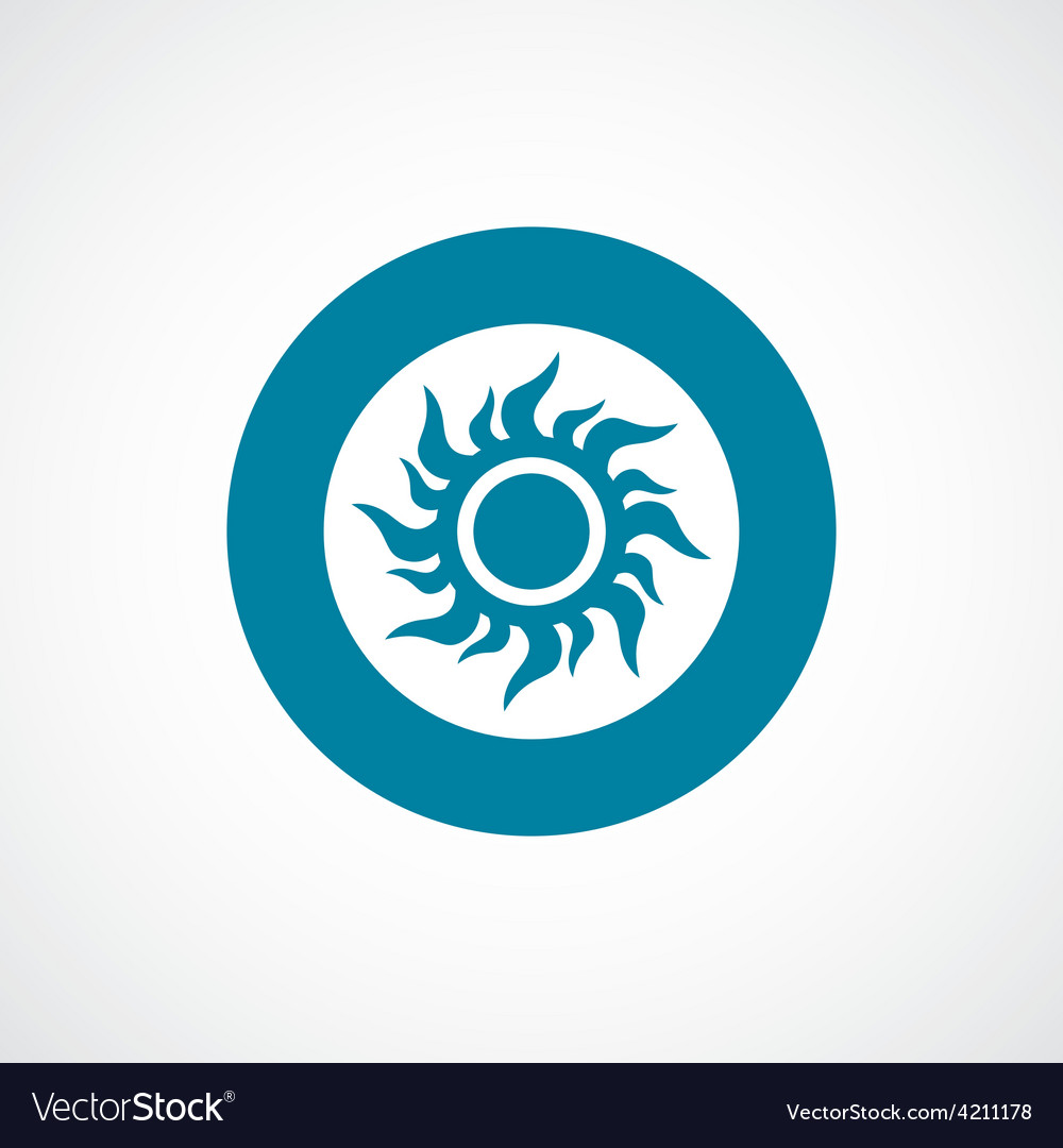 Sun icon bold blue circle border vector | Price: 1 Credit (USD $1)