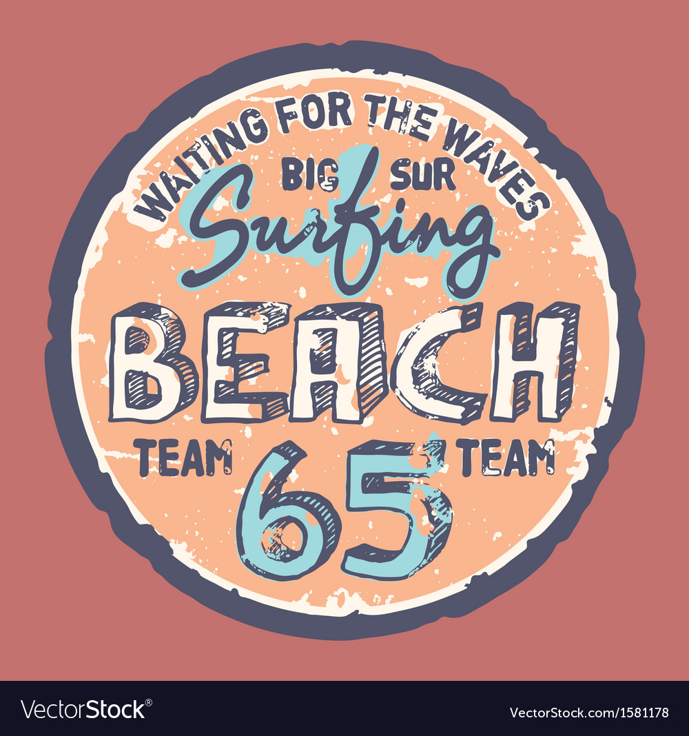 Surfing beach vector | Price: 1 Credit (USD $1)