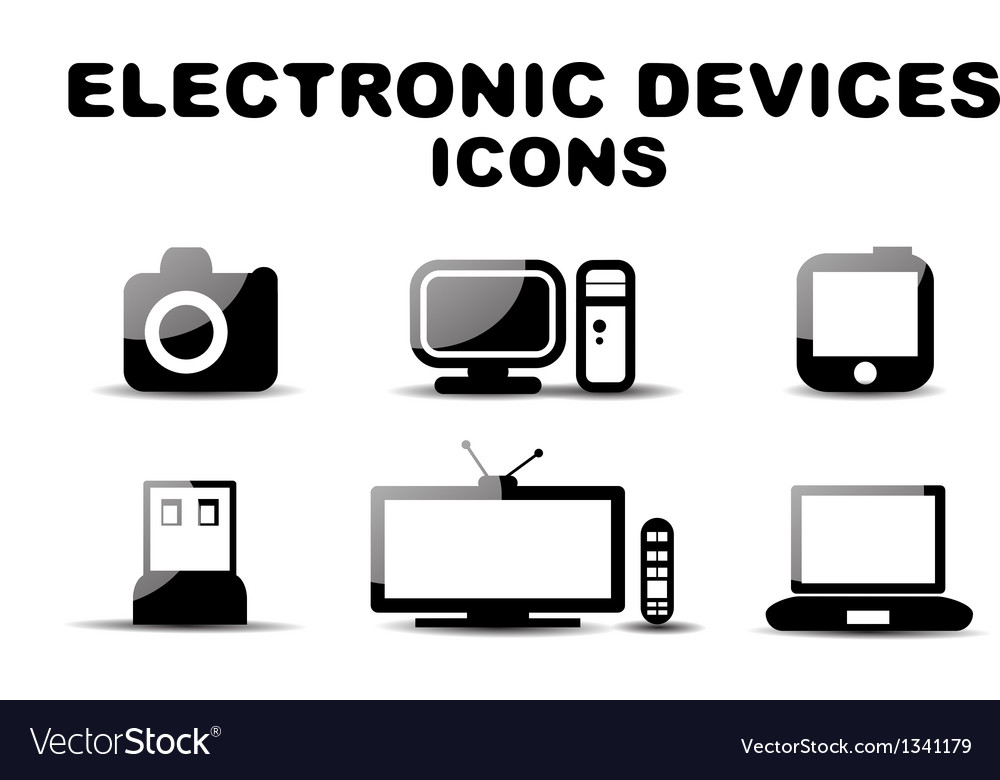 Black glossy electronic devices icon set vector | Price: 1 Credit (USD $1)