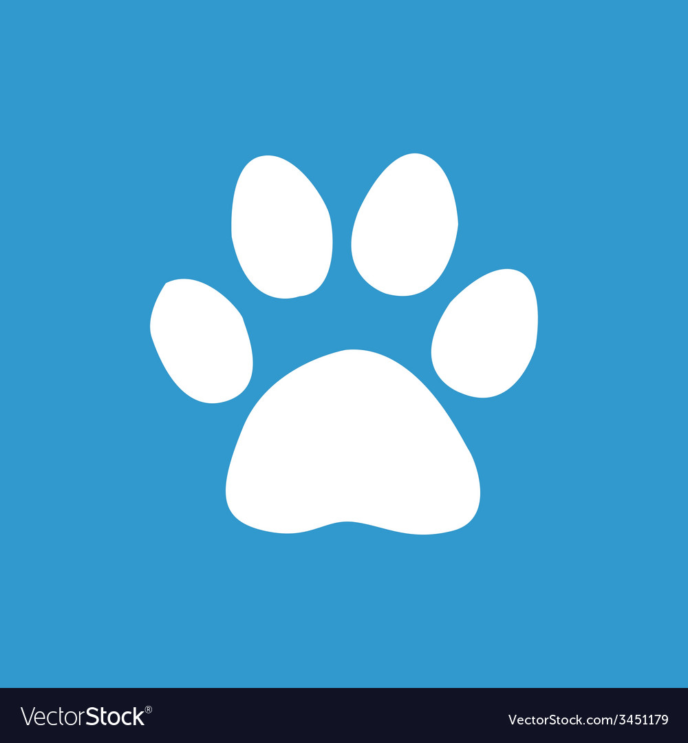 Cat footprint icon white on the blue background vector | Price: 1 Credit (USD $1)
