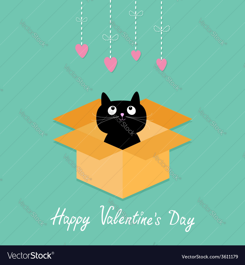 Cat inside opened cardboard package box valentines vector | Price: 1 Credit (USD $1)