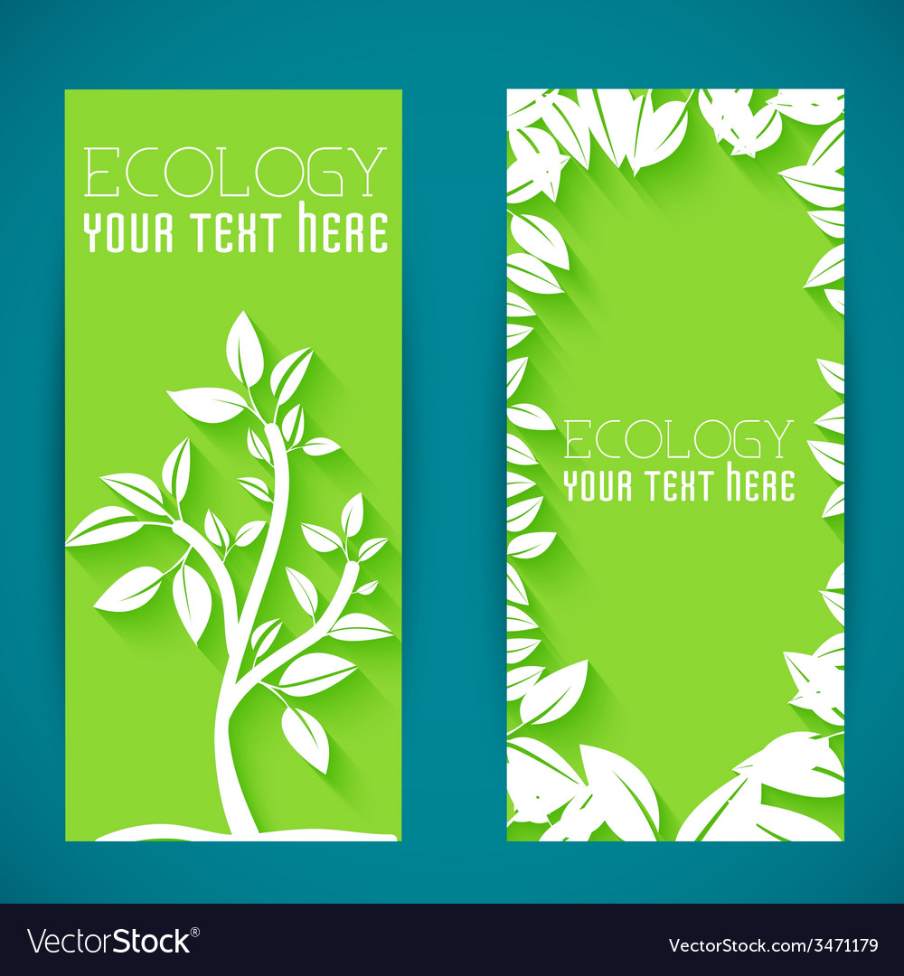 Flat eco leaf banners concept design vector | Price: 1 Credit (USD $1)