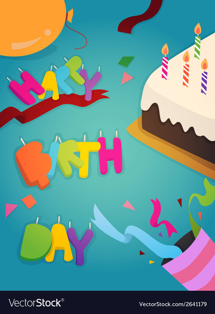 Happy birthday greeting card design vector | Price: 1 Credit (USD $1)