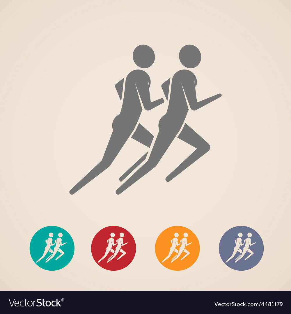 Running or jogging men icons vector | Price: 1 Credit (USD $1)