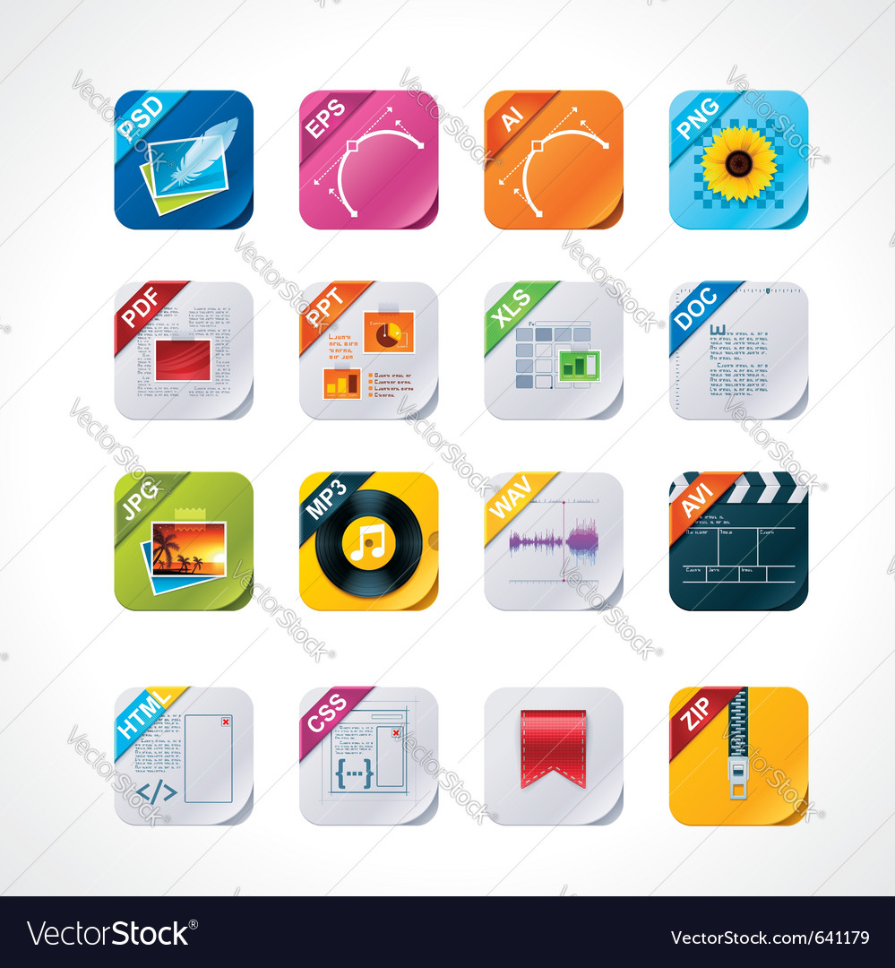 Square file labels icon set vector | Price: 3 Credit (USD $3)