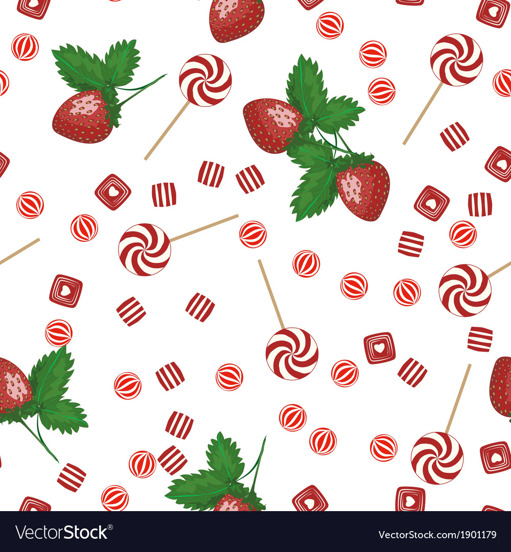 Strawberry lollipops candy and chewing gum seamles vector | Price: 1 Credit (USD $1)