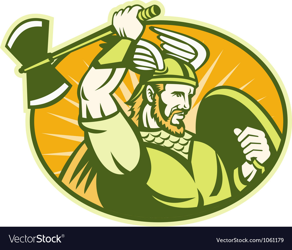Viking raider barbarian warrior retro vector | Price: 1 Credit (USD $1)