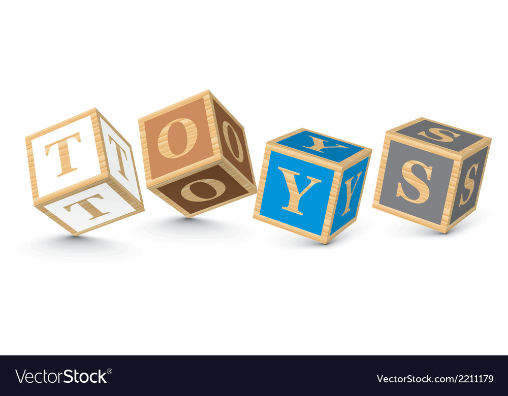 Word toys written with alphabet blocks vector | Price: 1 Credit (USD $1)
