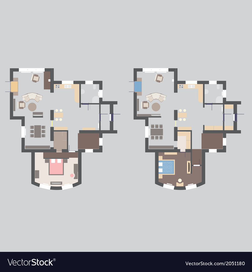 01 house plan v vector | Price: 1 Credit (USD $1)