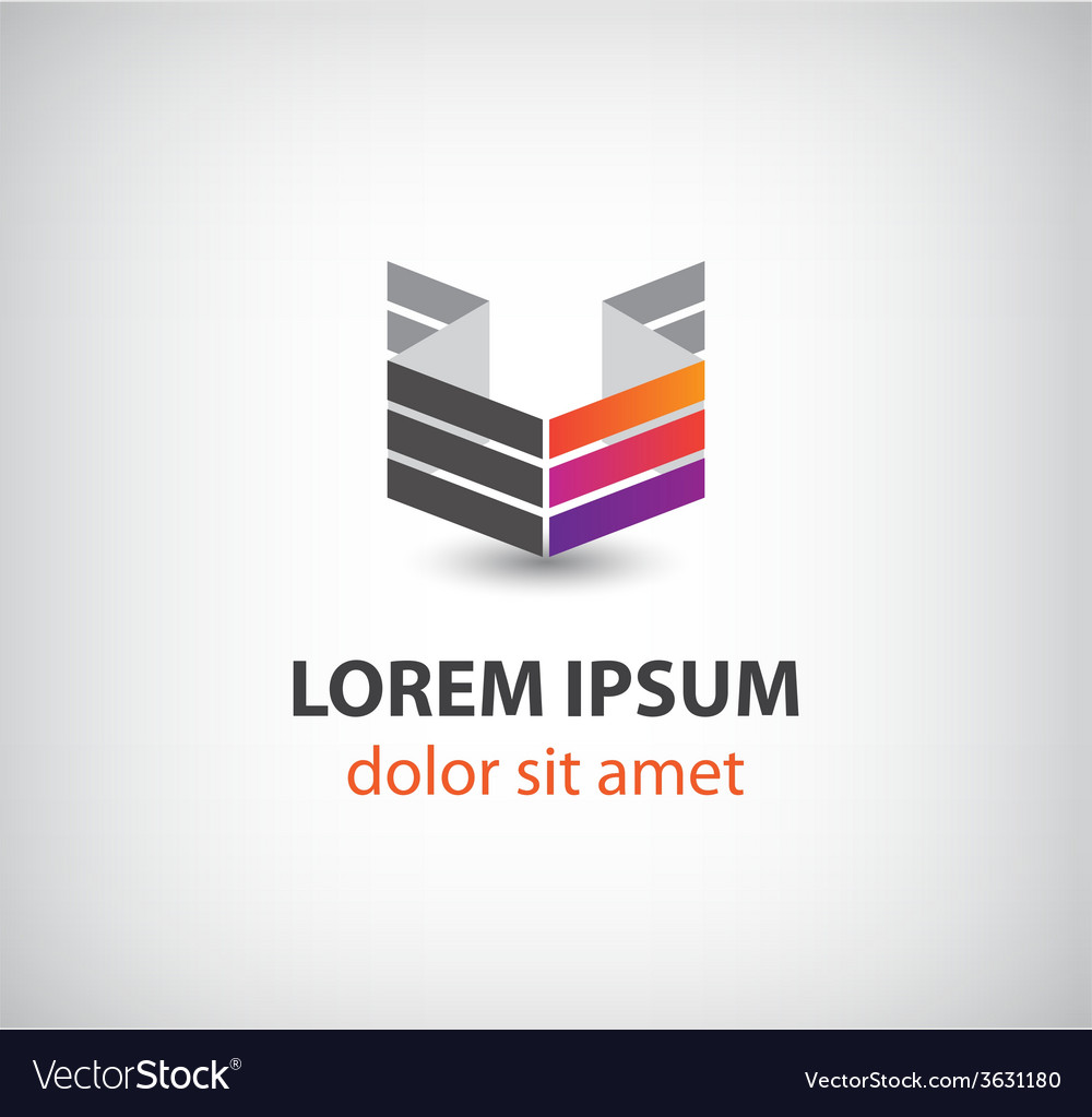3d abstract colorful geometric construction logo vector | Price: 1 Credit (USD $1)