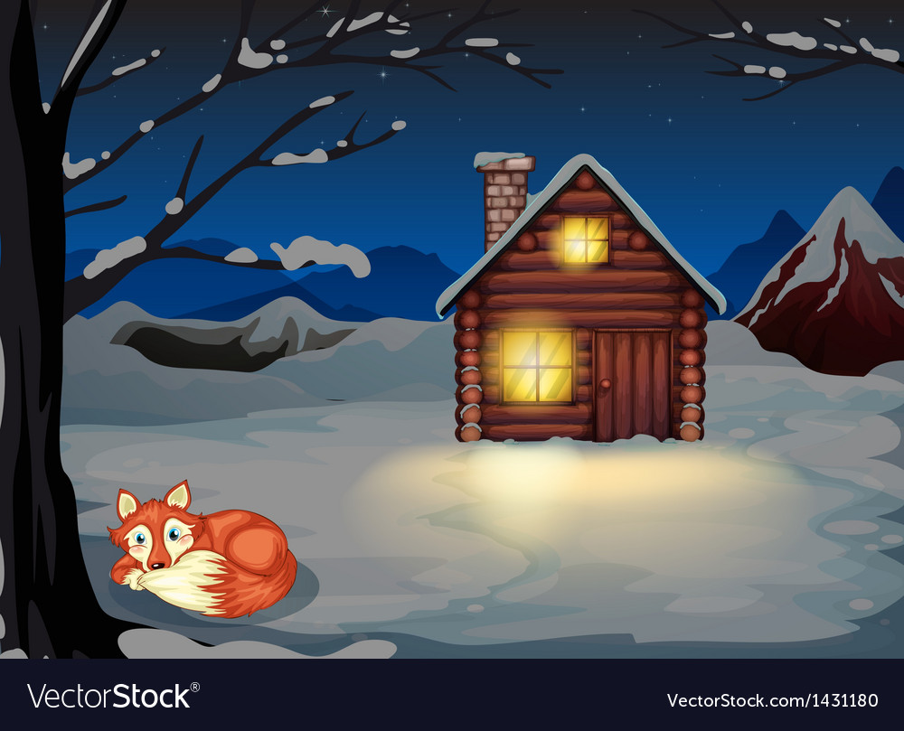A wolf lying under the tree outside the house vector | Price: 1 Credit (USD $1)