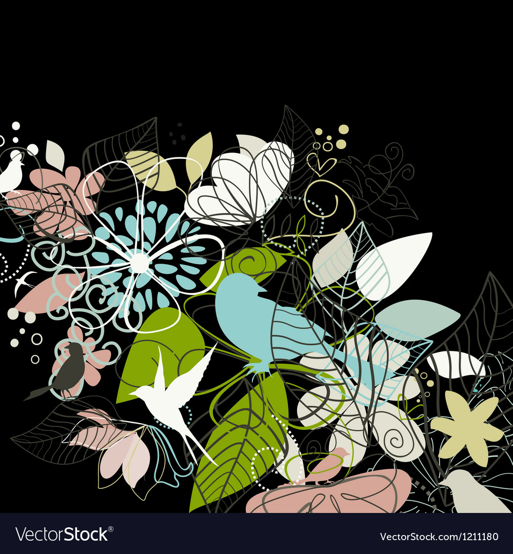 Birds a flower vector | Price: 1 Credit (USD $1)